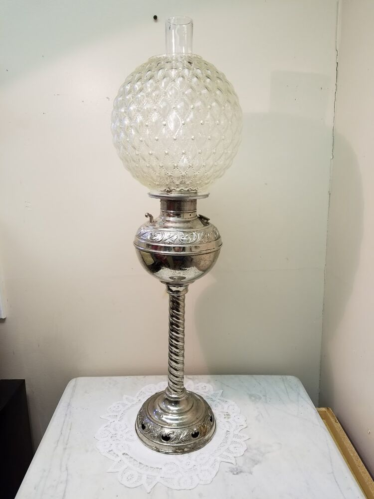 large antique nickel banquet oil parlor lamp with quilted glass ball shade ebay. Black Bedroom Furniture Sets. Home Design Ideas