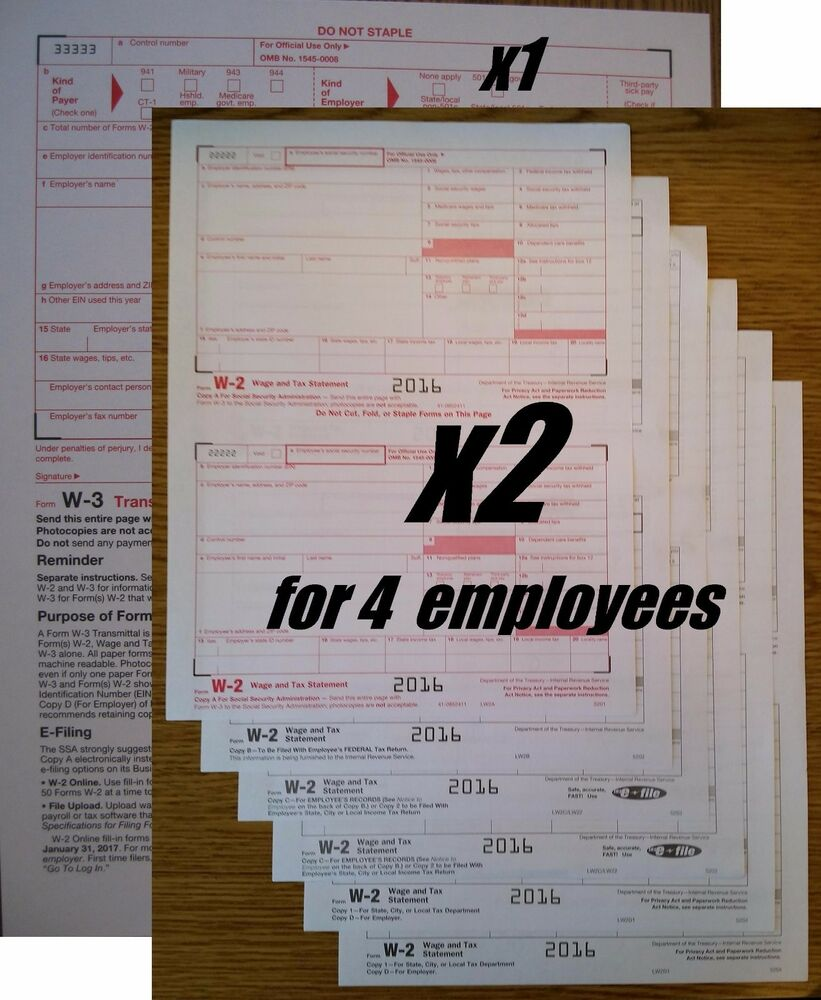 2016 IRS Tax Form W-2 Wage Stmts:: 6-part LASER - for 4 ...