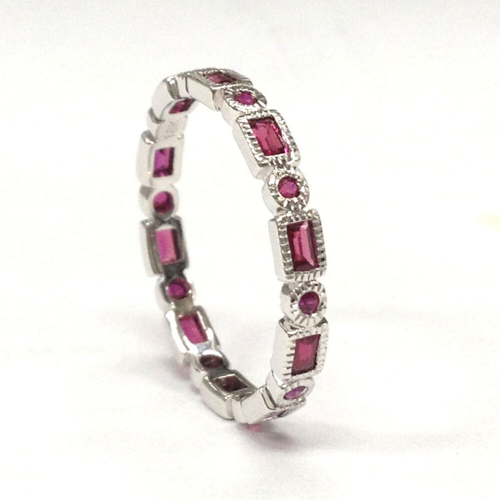 Eternity Band Art Deco Antique Red Ruby Wedding