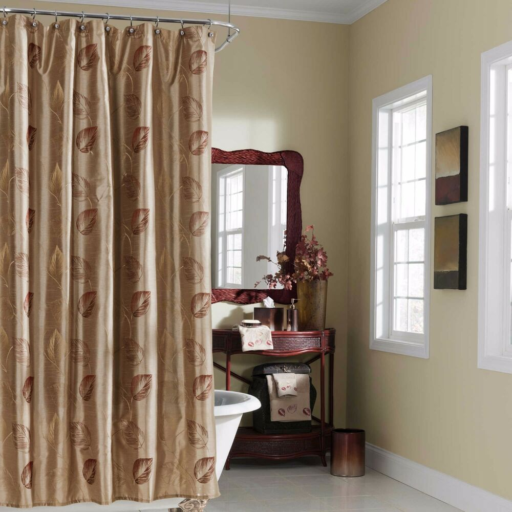 Croscill Arbor Leaves Fabric Shower Curtain Taupe Beige