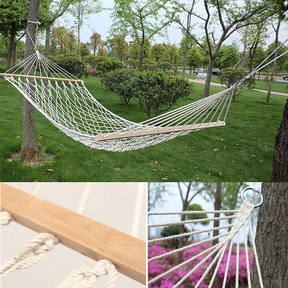 Patio Hammock: Cotton Hammock Hanging Sleeping Bed Swing Solid Wood