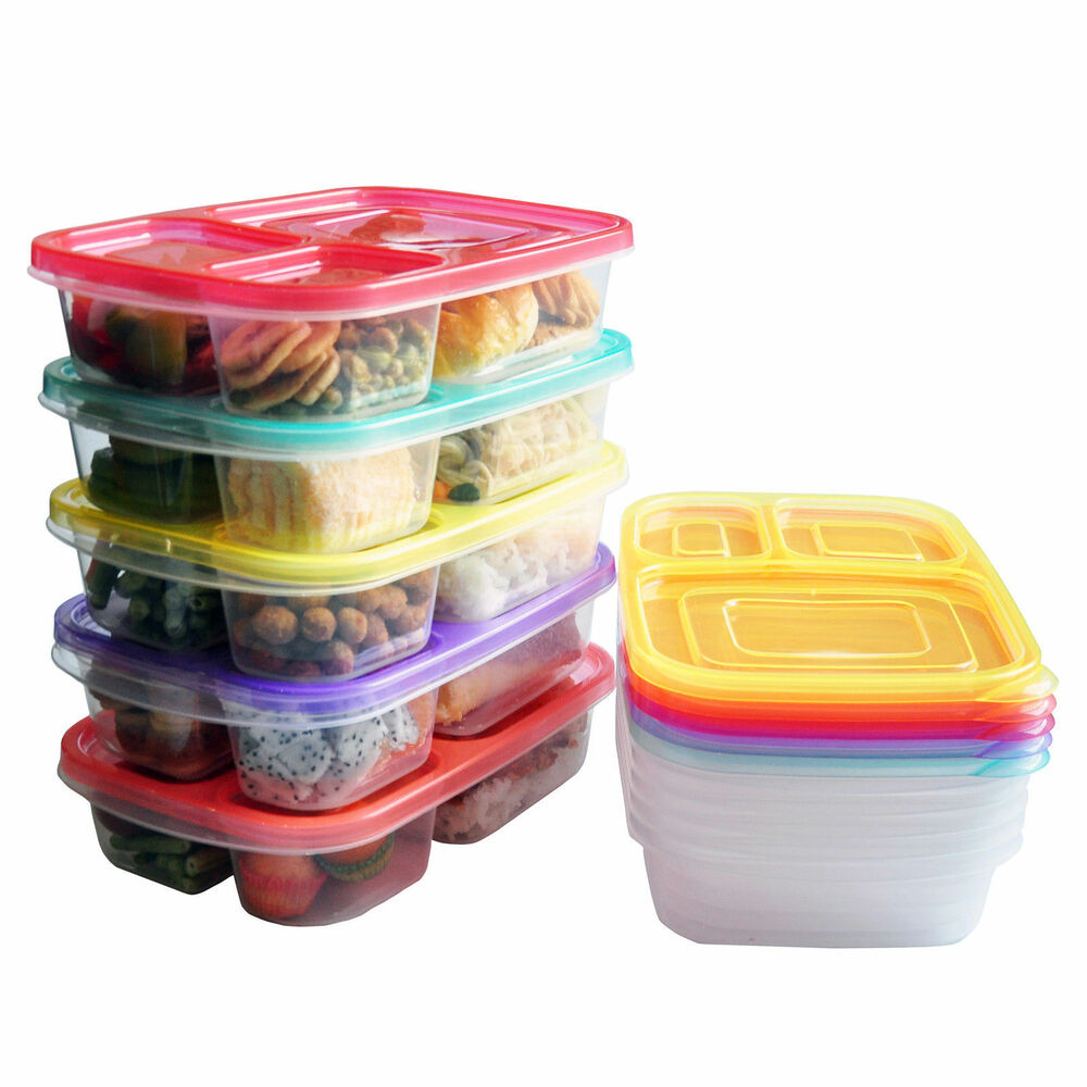 3 compartment colourful bento lunch box food storage boxes for kids adults ebay. Black Bedroom Furniture Sets. Home Design Ideas