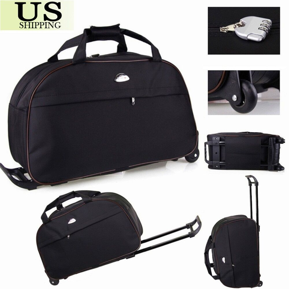 24 rolling wheeled tote duffle bag carry on luggage travel suitcase with wheels ebay. Black Bedroom Furniture Sets. Home Design Ideas