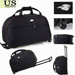 24'' Rolling Wheeled Tote Duffle Bag Carry On Luggage Travel Suitcase with Wheels