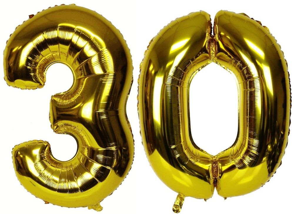 """16"""" 30 Gold Number Balloons 30th Birthday Party ..."""