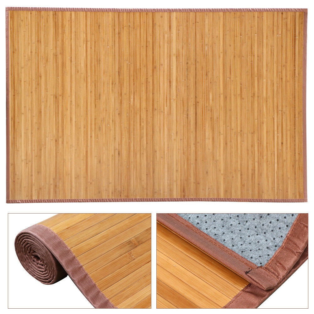 5 39 x 8 39 bamboo area rug floor carpet natural bamboo wood for Indoor outdoor wood flooring