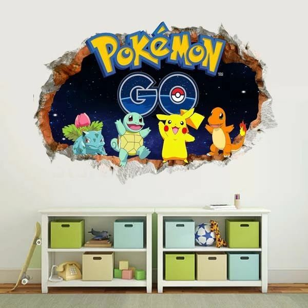 pokemon go wall sticker pikachu charmander squirtle mural decals kids room decor ebay. Black Bedroom Furniture Sets. Home Design Ideas
