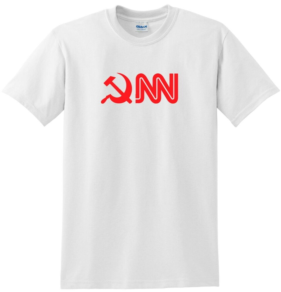 cnn t shirt anti liberal funny tee in white communist news network tee ebay. Black Bedroom Furniture Sets. Home Design Ideas