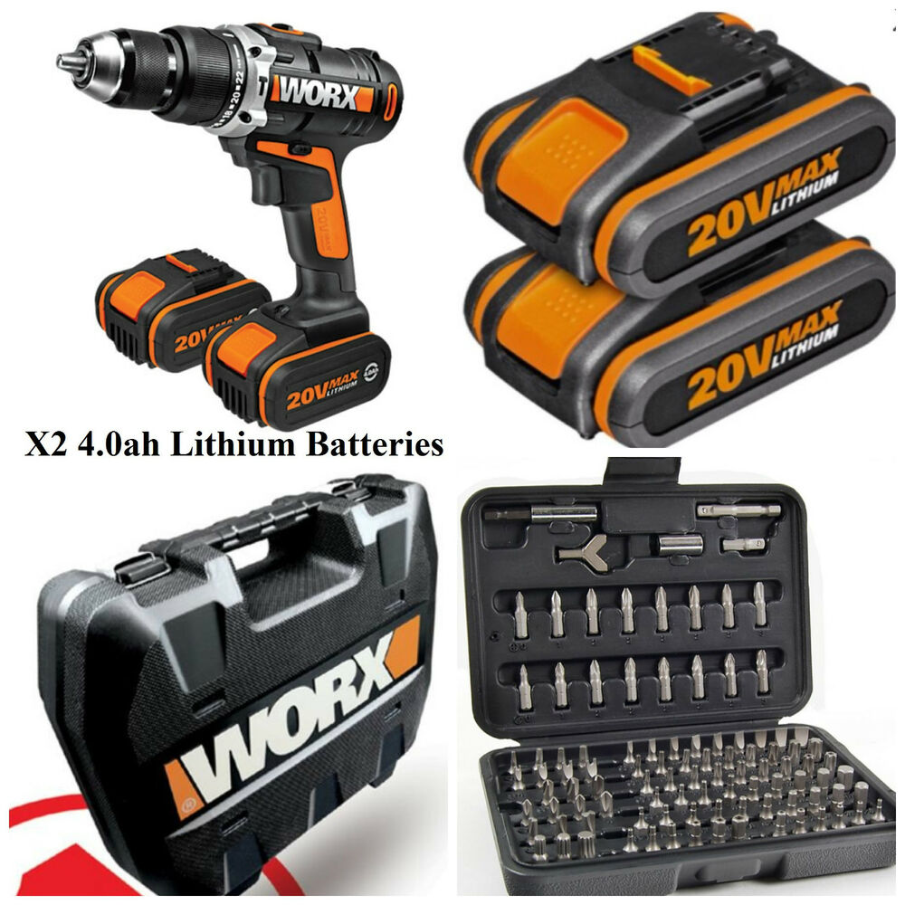 worx 20v lithium ion combi hammer drill with 2 x 4 0 batteries security set ebay. Black Bedroom Furniture Sets. Home Design Ideas