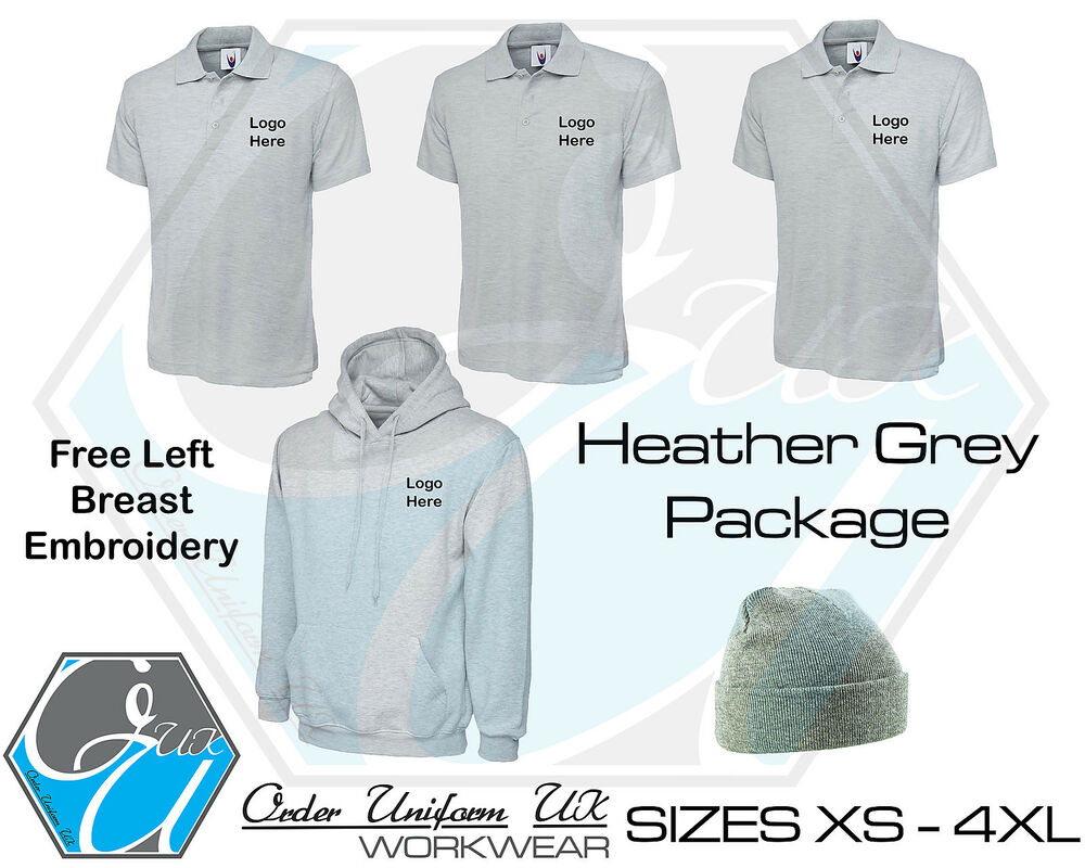 Heather Grey Personalised Embroidered Work Wear Package Hoodie Polo