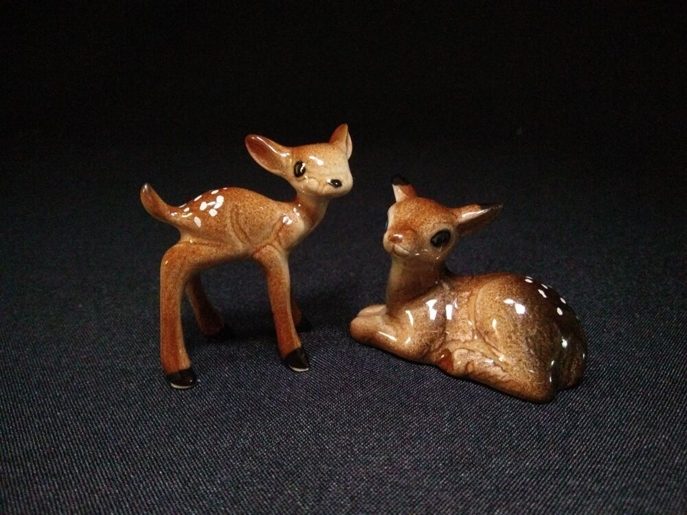 Lot2 Animal Deer Ceramic Small Figurines Miniature Statue