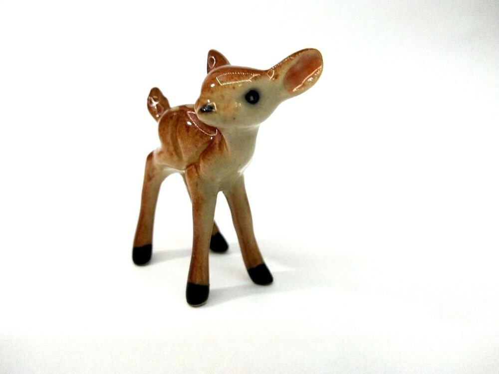 Animal Deer Ceramic Small Figurines Miniature Statue Decor