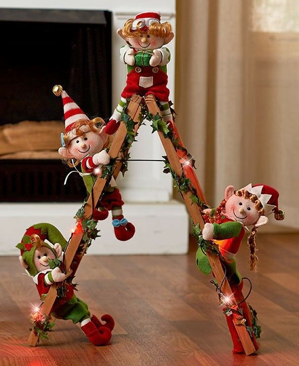 Holiday Lighted Decorative Elf Ladder With 4 Elves ...
