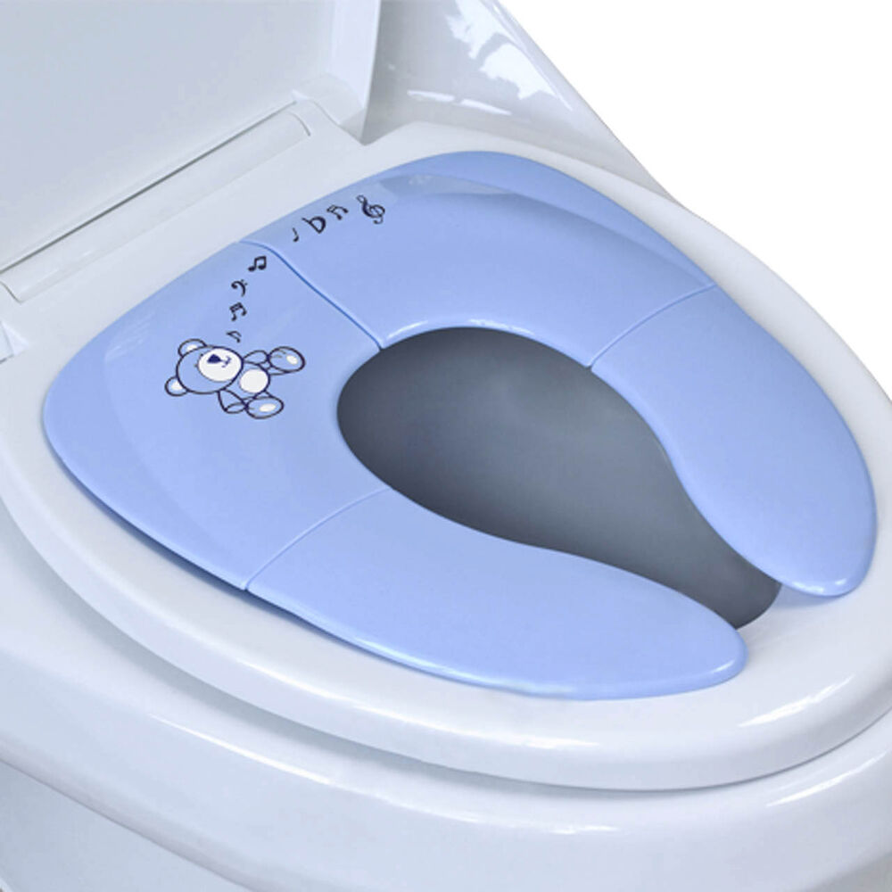 folding travel potty seat for baby portable blue training toilet toddler ebay. Black Bedroom Furniture Sets. Home Design Ideas