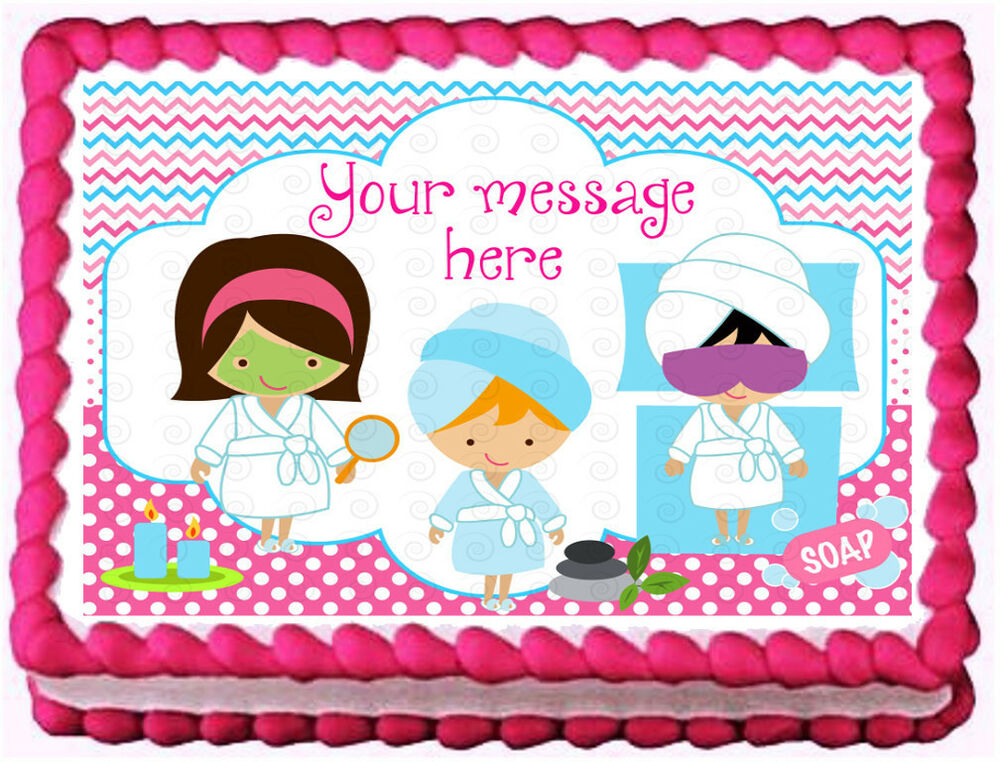 spa party birthday image edible cake topper decoration ebay