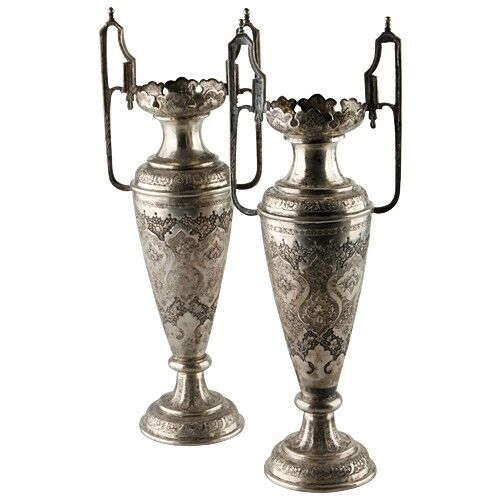 pair of antique vtg persian silver engraved vases ebay. Black Bedroom Furniture Sets. Home Design Ideas