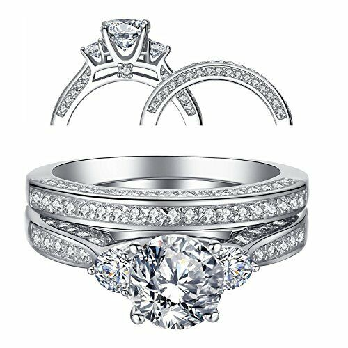 Women s Three Stone CZ Sterling Silver Wedding Engagement Ring Sets Size