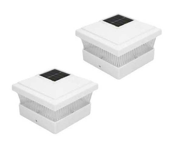 4 White 5 X 5 Pvc Vinyl Outdoor Garden Solar Post Deck Cap