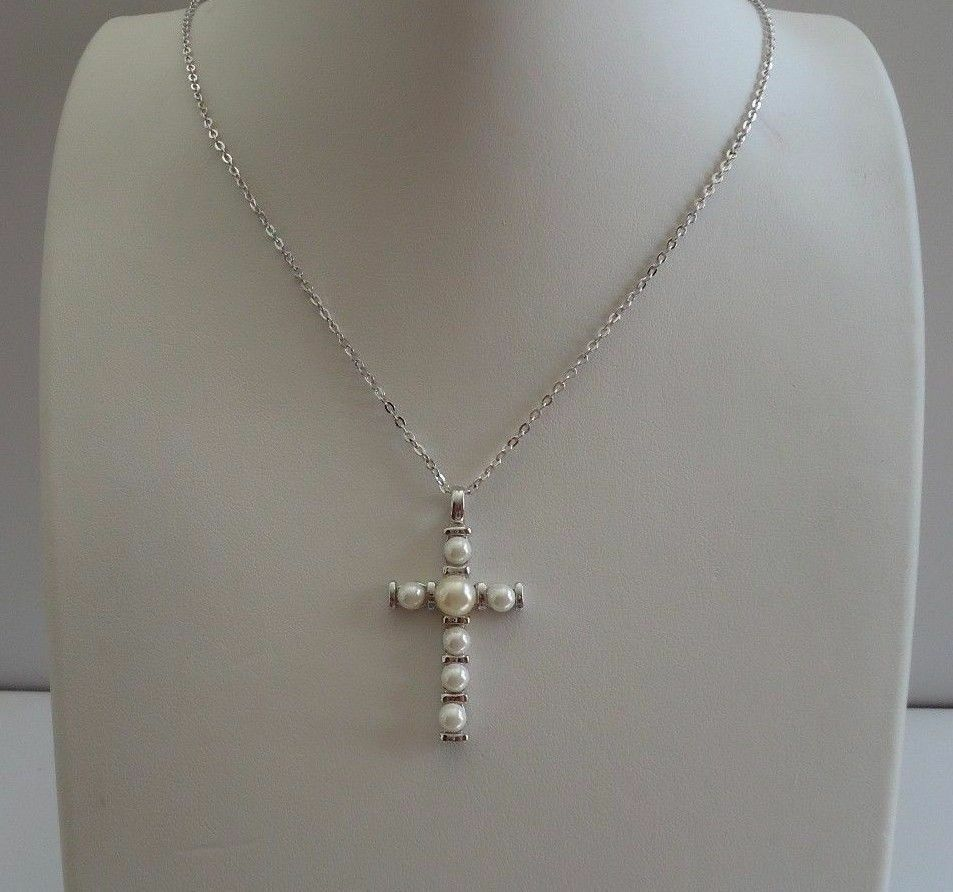 Necklace With A Pearl: 925 STERLING SILVER PEARL CROSS NECKLACE PENDANT W/ WHITE