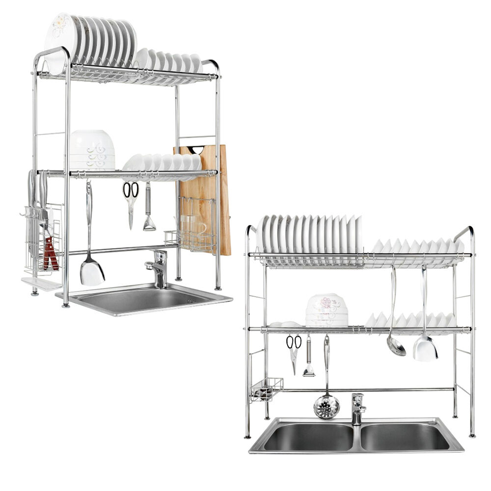 2 Tier Stainless Steel Dish Plates Drainer Rack Kitchen