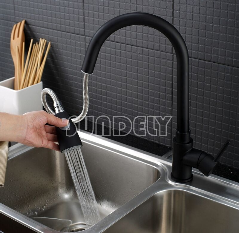 Black Kitchen Sink Basin Vanity Swivel Pull Out Spout