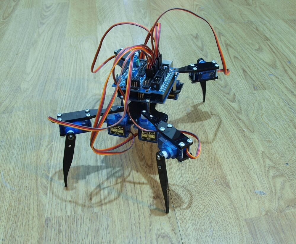 Quadruped four feet robot quot hexapod spider arduino diy