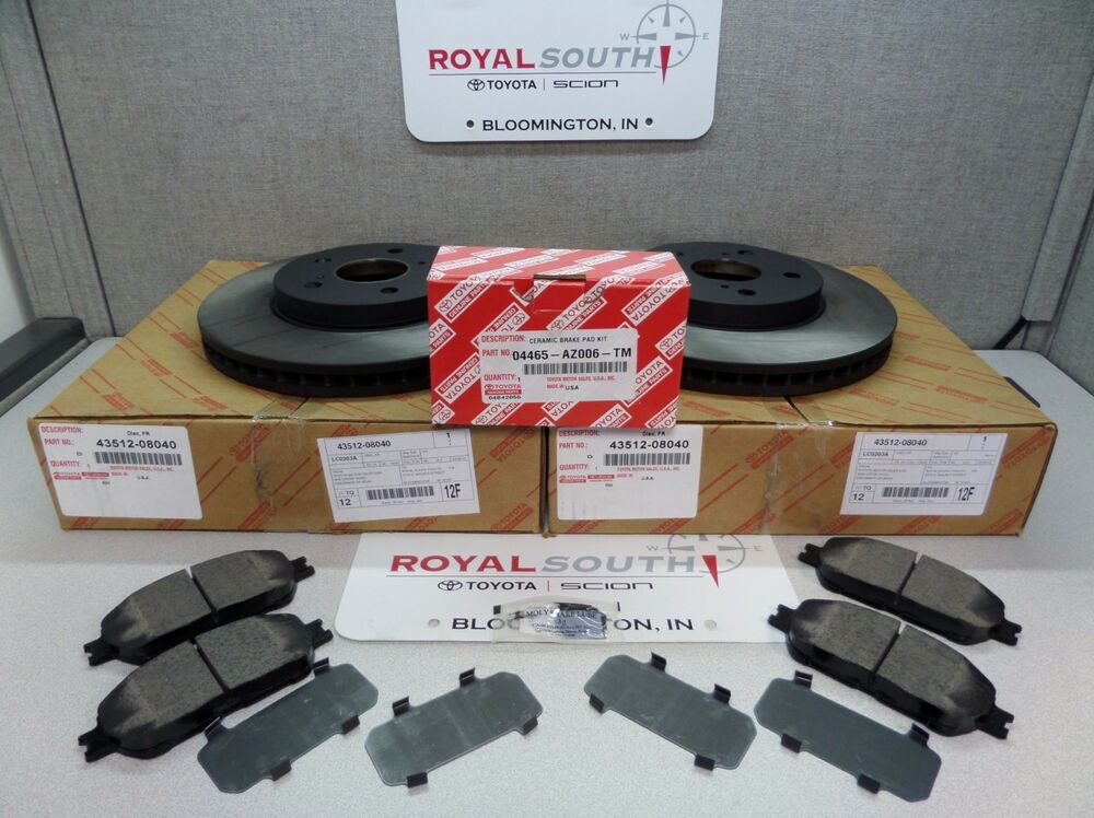 toyota sienna avalon front brake pads rotors set kit genuine oe oem ebay. Black Bedroom Furniture Sets. Home Design Ideas