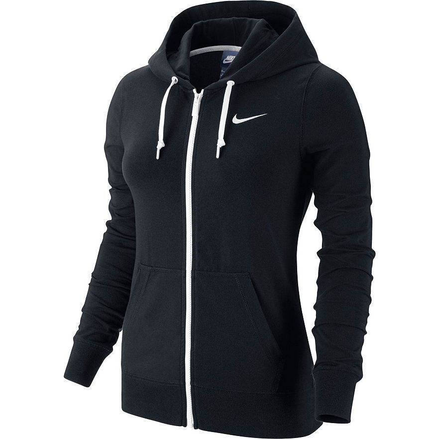 NEW WOMEN'S NIKE SOLID JERSEY FULL-ZIP HOODIE SWEATSHIRT ...