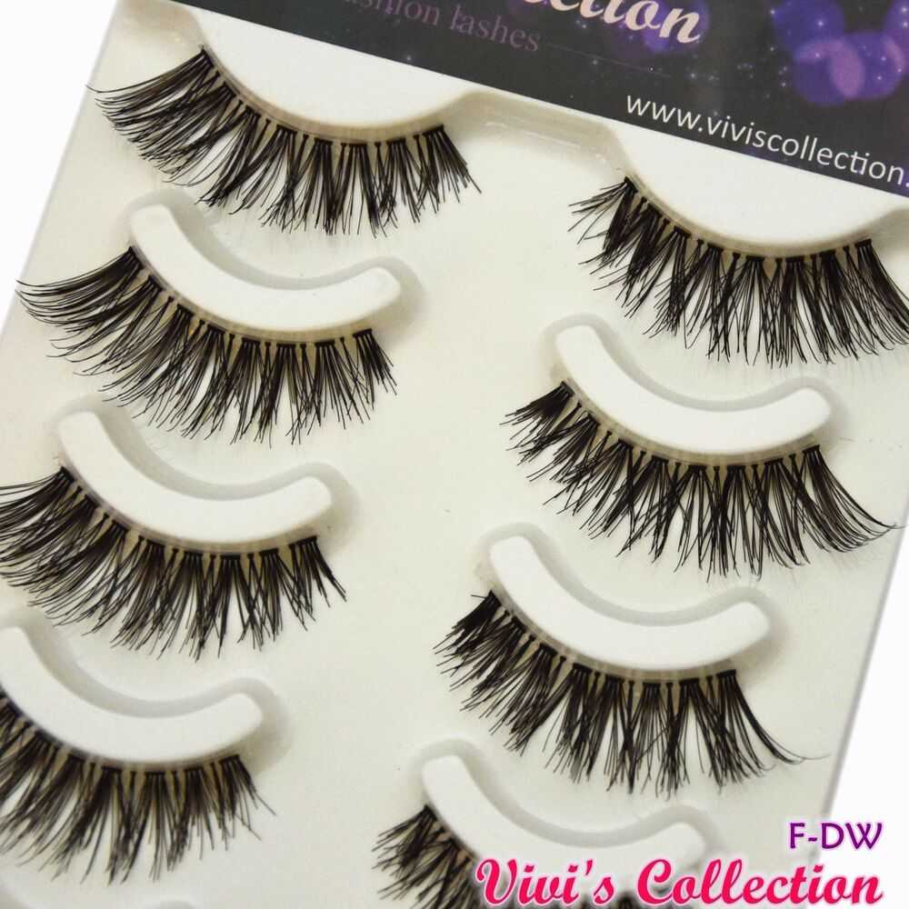 5 Pairs F Dw Natural False Eyelashes Demi Wispies Black Eye Lashes