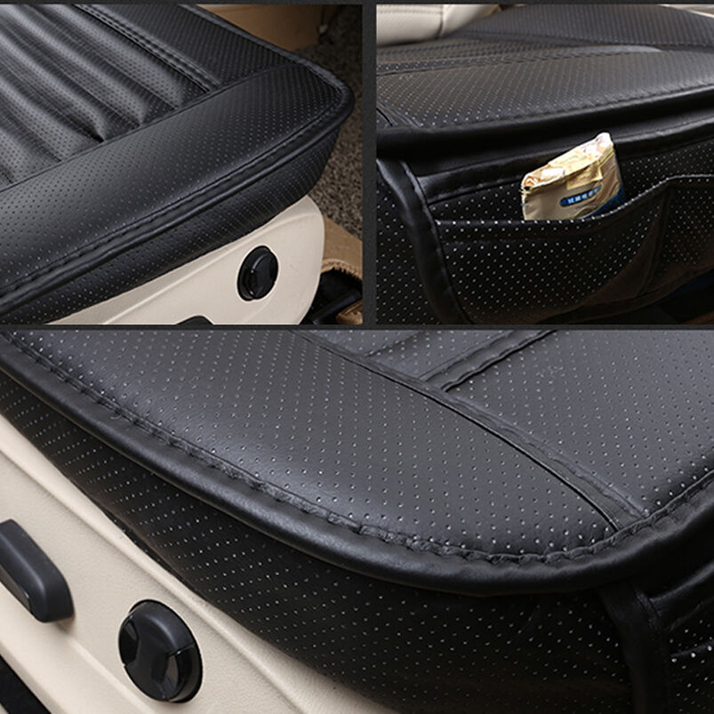 3d universal bamboo charcoal cushion seat pad pu leather car seat covers black ebay. Black Bedroom Furniture Sets. Home Design Ideas