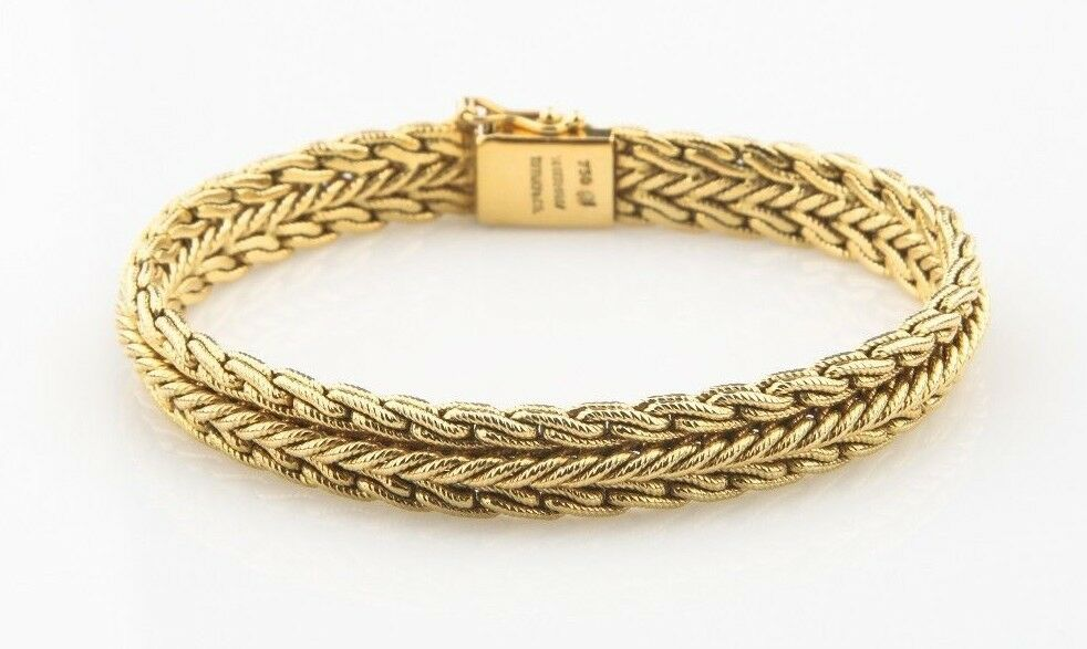 33802c636 Details about Tiffany & Co. Vintage 18k Yellow Gold Woven Mesh Bracelet W.  Germany Unique!