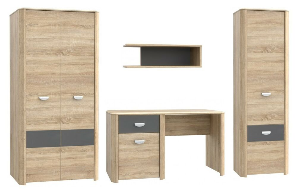 jugendzimmer set yoop wohnwand kleiderschrank kommode schrank mit regalen ebay. Black Bedroom Furniture Sets. Home Design Ideas