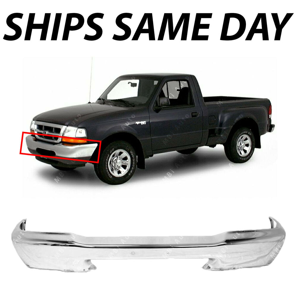 new chrome steel front bumper face bar for 1998 1999 2000 ford ranger truck ebay. Black Bedroom Furniture Sets. Home Design Ideas