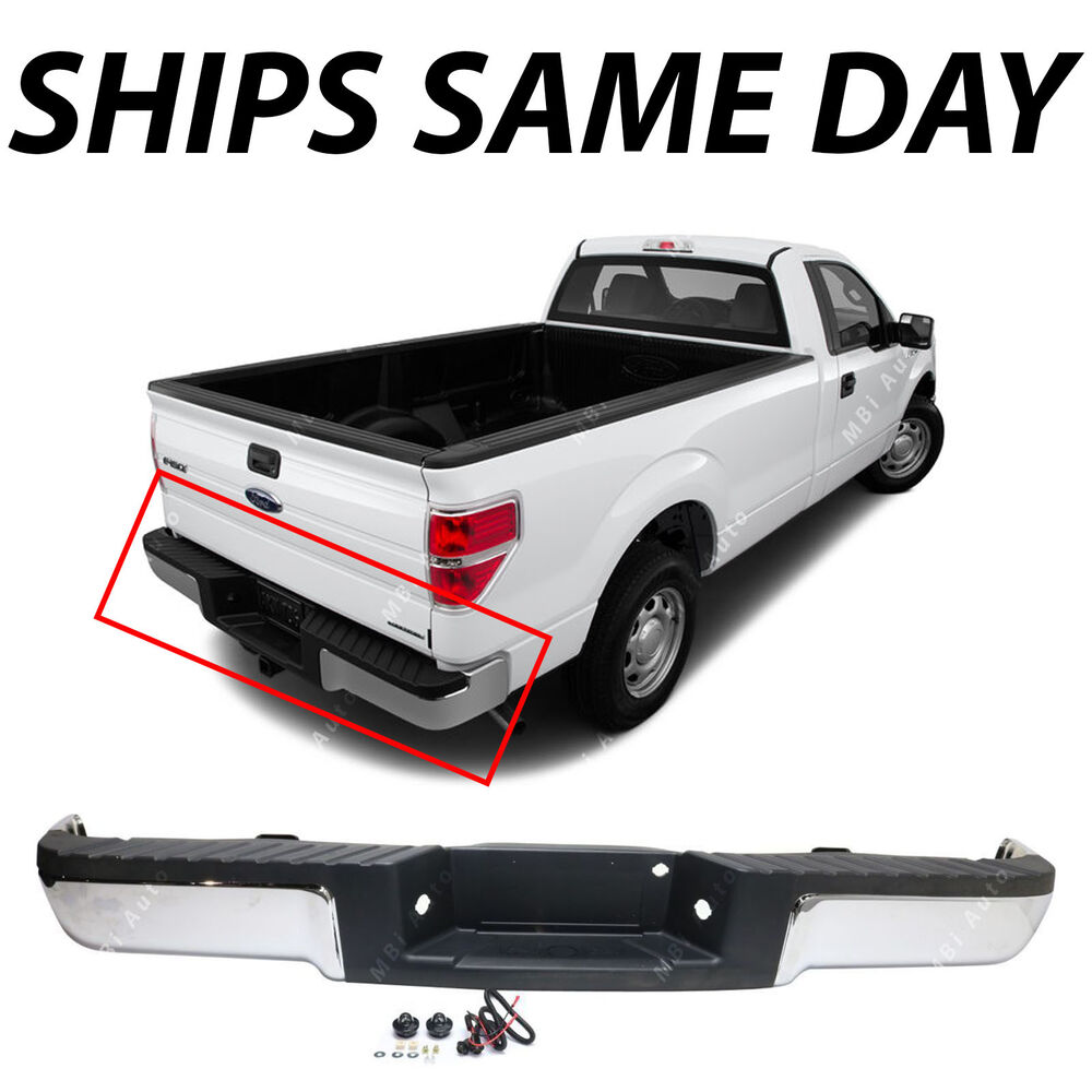 Rear Bumper Assy : New chrome complete rear steel bumper assembly for