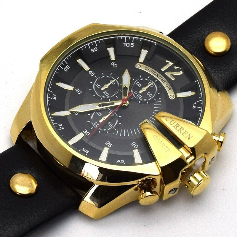 Curren men luxury stainless steel quartz leather sport army military wrist watch ebay for Curren watches
