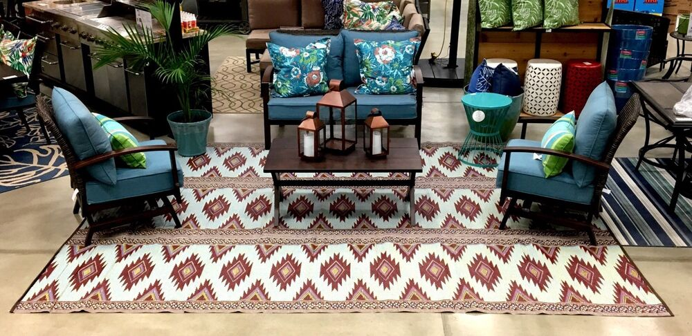 clearance outdoor patio rug 9 39 x 12 39 rv camping picnic mat 300 ebay. Black Bedroom Furniture Sets. Home Design Ideas