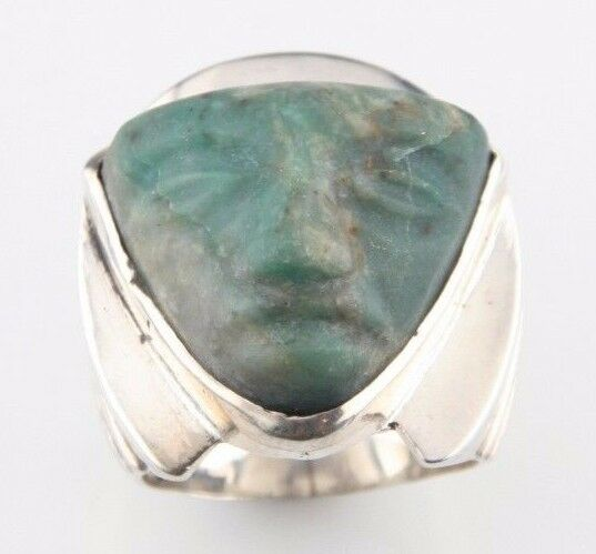 Vintage Mexican Silver Carved Face Green Jade Ring Size 5