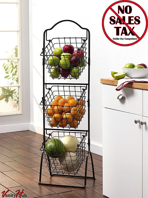 wire storage basket bins shelving 3 tier rack organizer fruit stand vegetable ebay. Black Bedroom Furniture Sets. Home Design Ideas