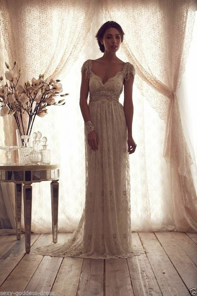 White ivory vintage beaded lace beach bridal gown wedding for Vintage beaded lace wedding dress