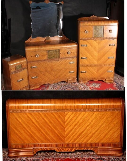 Waterfall Bedroom Set Art Deco Dresser Mirror Chest
