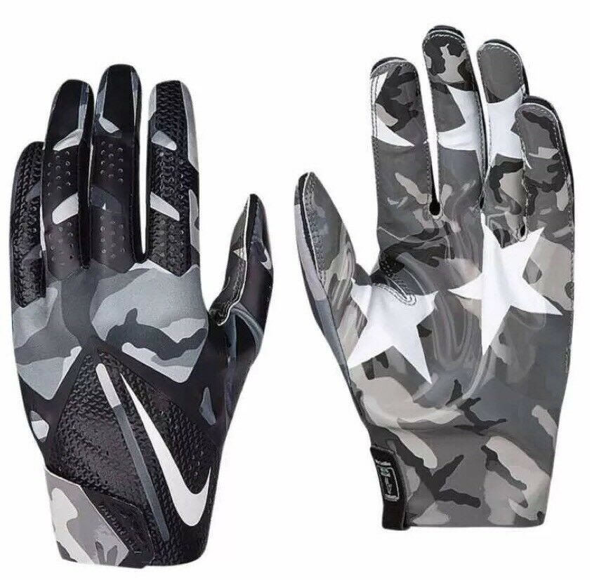 Nike Football Gloves: NEW NIKE ADULT UNISEX NIKE VAPOR FLY FOOTBALL GLOVES GRAY