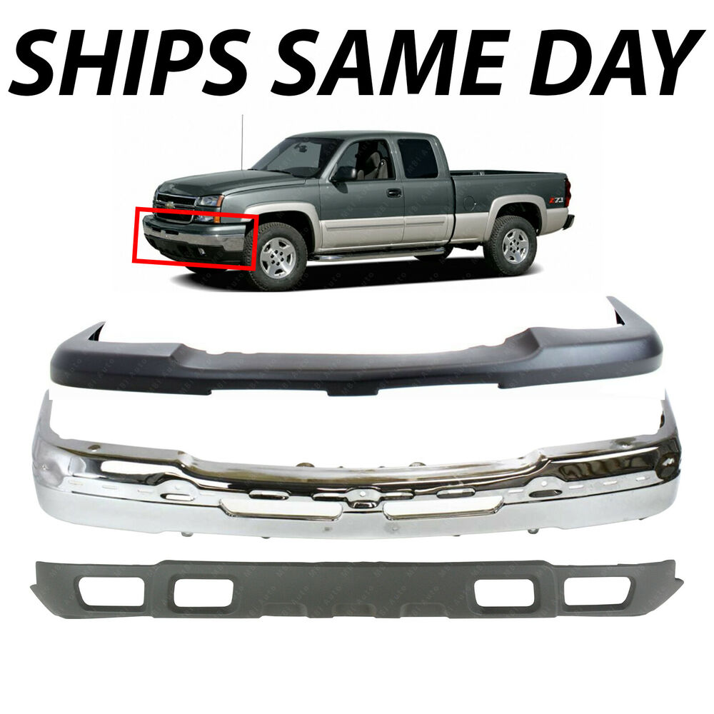 New complete steel front bumper kit for 2003 2007 chevy silverado 1500 avalanche fits