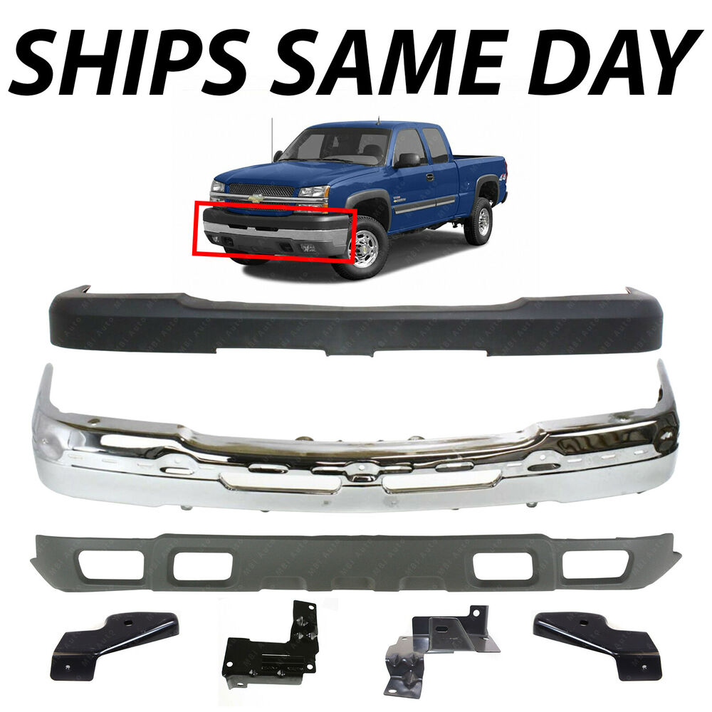 new chrome steel front bumper kit for 2003 2007 chevy silverado 2500hd 3500 ebay. Black Bedroom Furniture Sets. Home Design Ideas