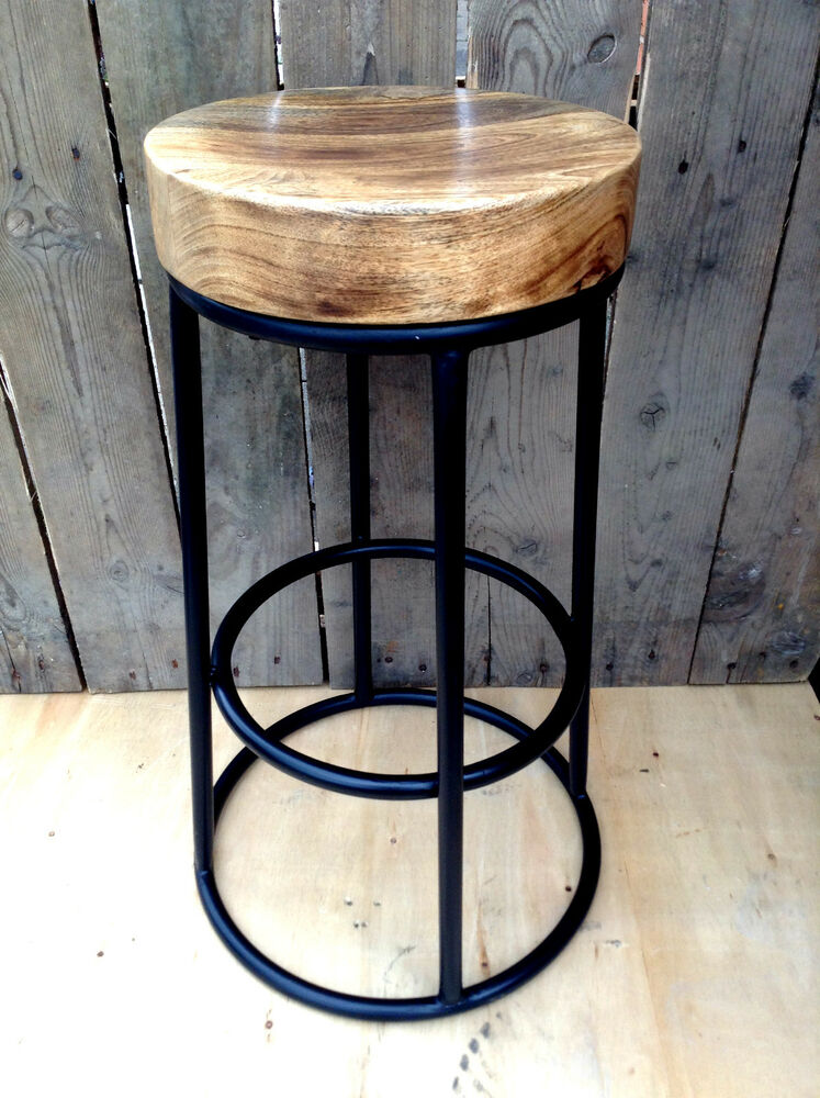 Industrial bar stool wooden top shabby vintage chic for Bar stool kitchen table