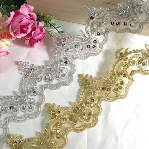 1yd pearl beaded sequin bridal lace trim wedding dress for Wedding dress trim beading