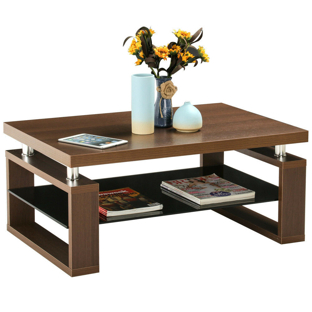 coffee end table rectangle modern living room furniture w storage shelf brown ebay. Black Bedroom Furniture Sets. Home Design Ideas