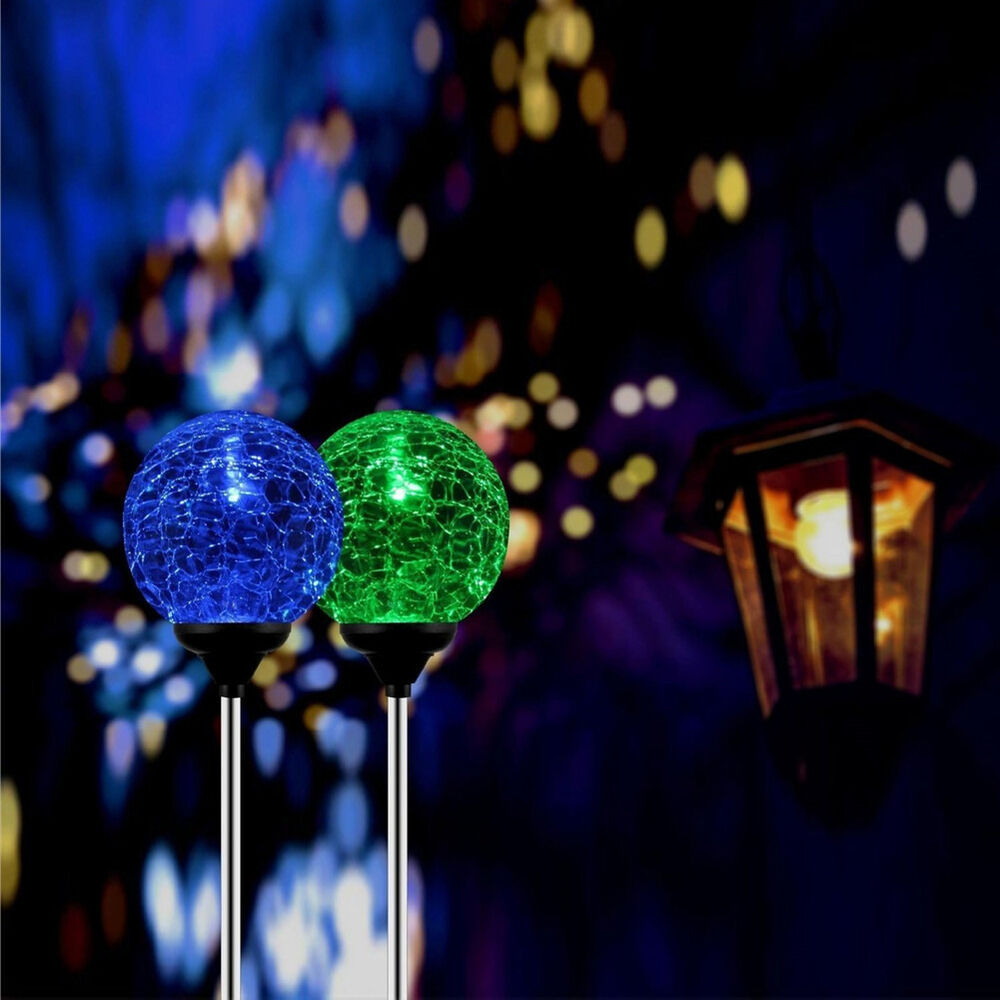 Stainless Steel Solar Power Color Changing Led Crackled Glass Ball Garden Lights Ebay