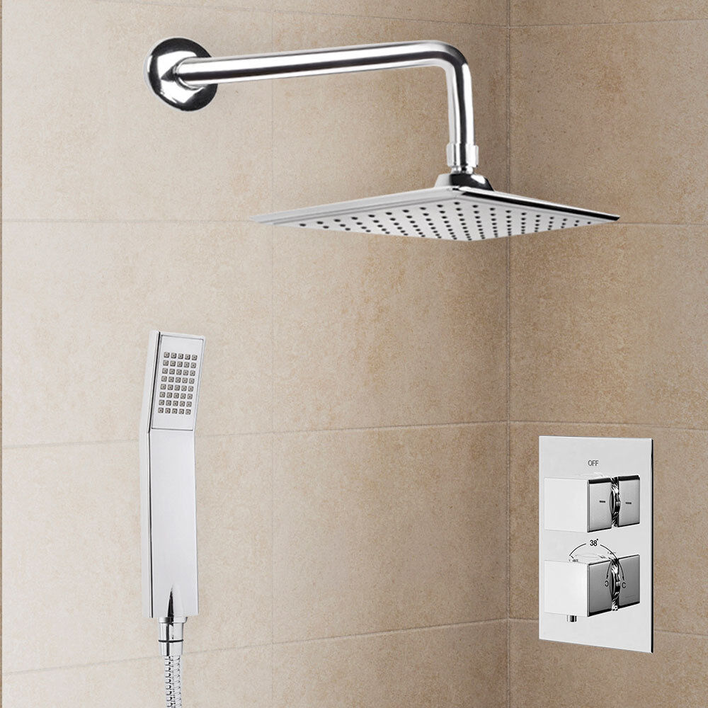 Thermostatic Square Mixer Shower Valve Tap Head Hose Complete Shower Kit Mode