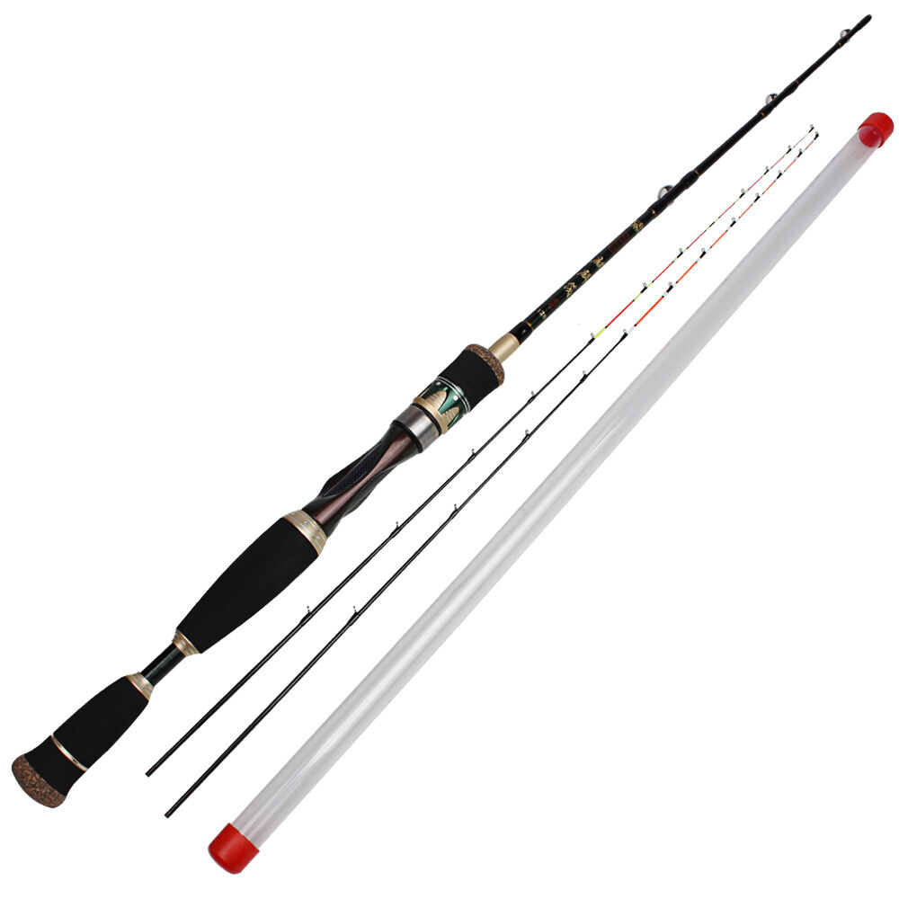 Fishing rod raft spinning strong carbon fishing pole 2sec for Telescoping fishing pole