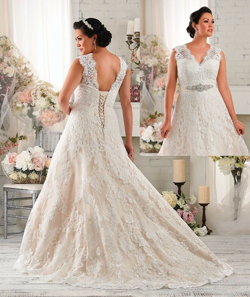 White ivory lace wedding dresses bridal gown custom plus for Wedding dresses size 28